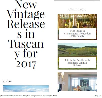 New Vintage Release s in Tuscan y for 2017