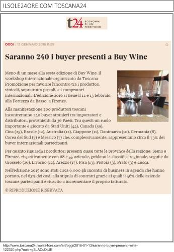 Saranno 240 i buyer presenti a Buy Wine